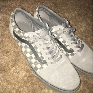 Grey And Black Checkered Vans